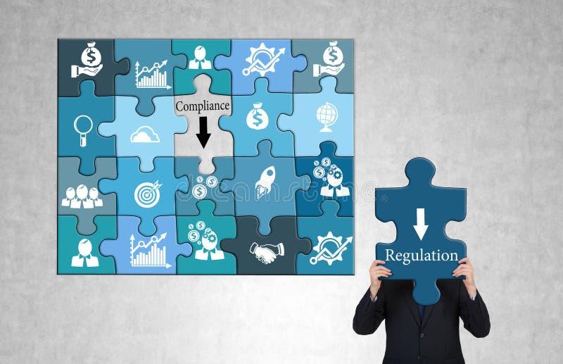 Puzzle di conformità e di regolamento illustrazione di stock