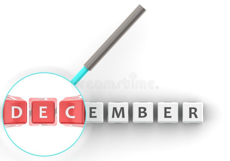 Puzzle di dicembre con la lente d'ingrandimento illustrazione vettoriale