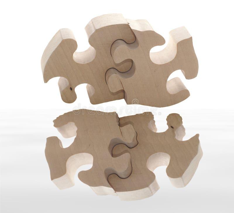 Puzzle di legno con la riflessione fotografie stock