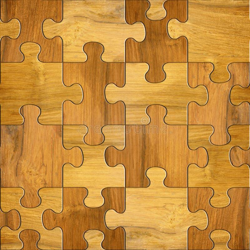 Puzzle di legno - fondo senza cuciture - modello decorativo illustrazione di stock