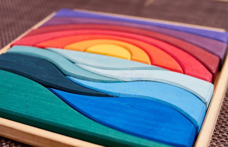 Puzzle di legno di Waldorf di colore fotografia stock libera da diritti