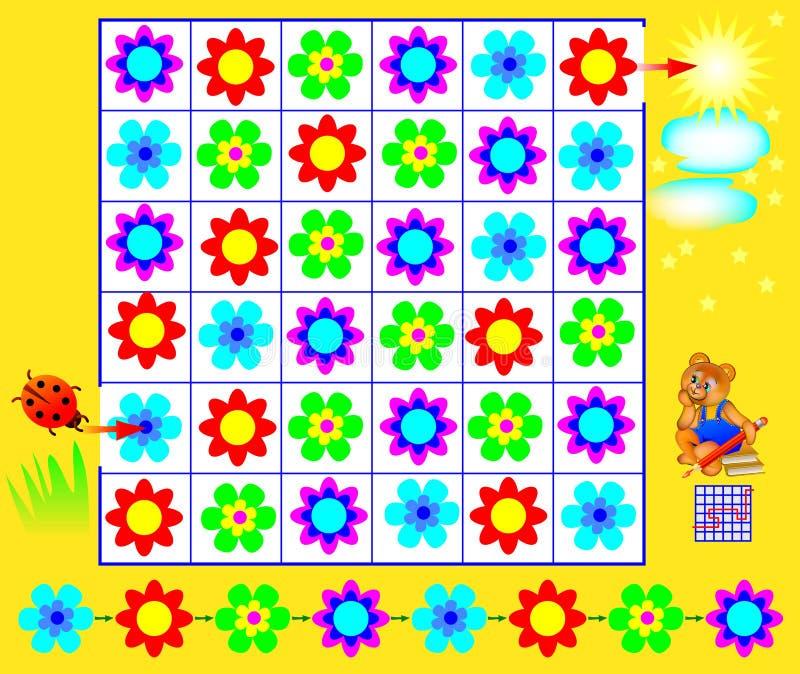 Puzzle di logica con il labirinto - debba trovare una direzione dalla coccinella al sole che rispetta i fiori dell'unire e di reg illustrazione di stock