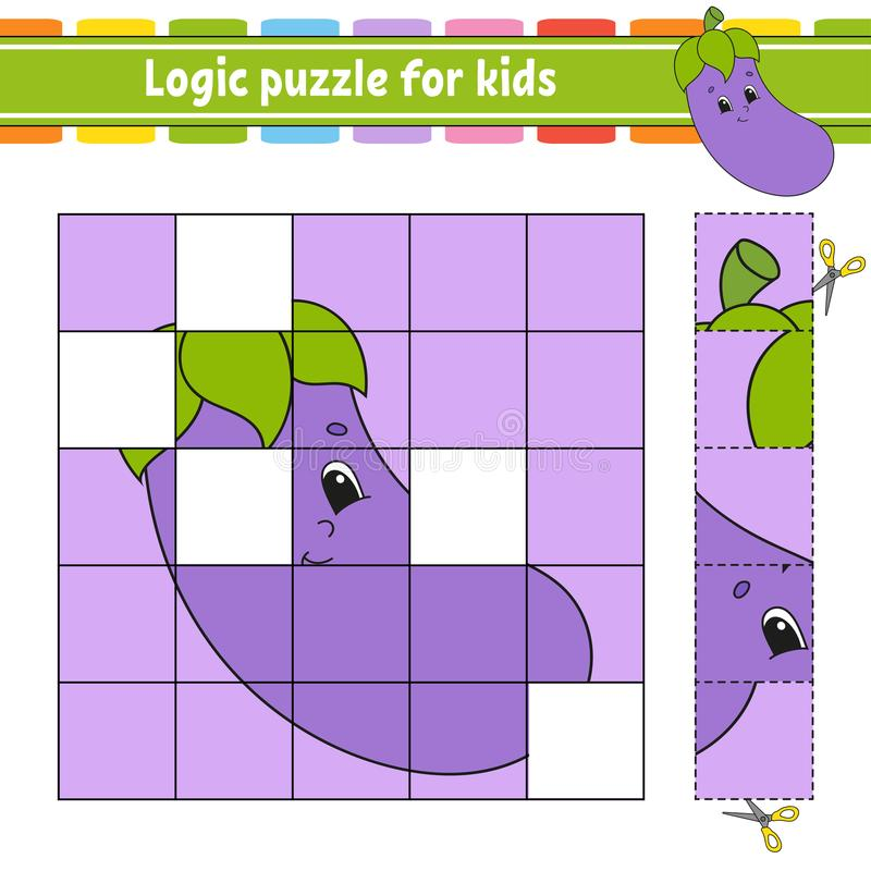 Puzzle di logica per i bambini Foglio di lavoro di sviluppo di istruzione Apprendimento del gioco per i bambini Pagina di attivit illustrazione vettoriale