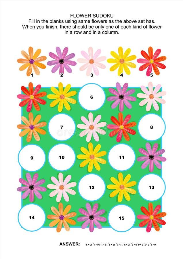 Puzzle di sudoku dell'immagine con i fiori della margherita della gerbera illustrazione vettoriale