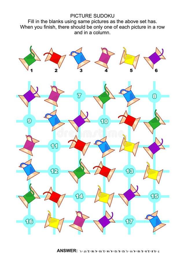 Puzzle di sudoku dell'immagine con le bobine di cucito illustrazione di stock