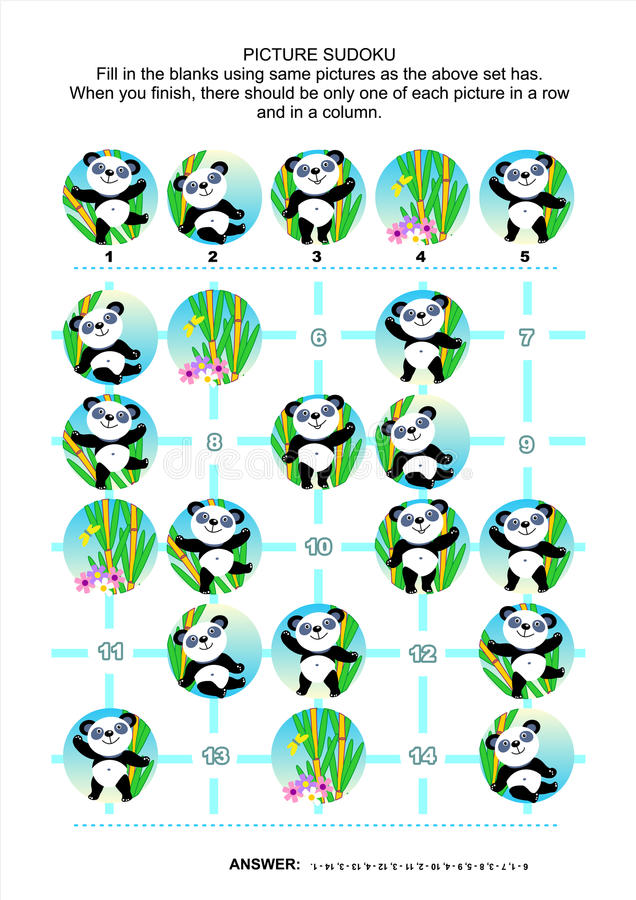 Puzzle di sudoku dell'immagine, orsi di panda di tema illustrazione di stock