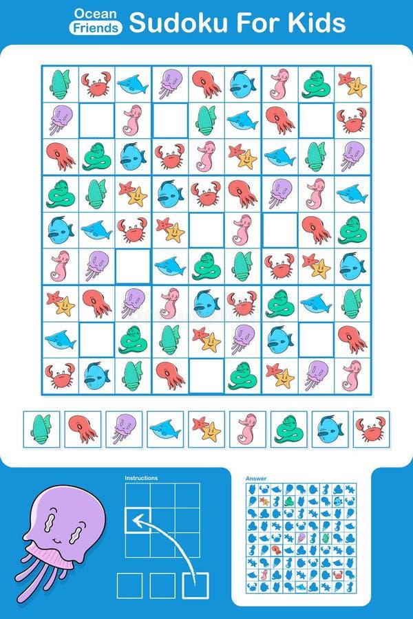 Puzzle di Sudoku per i bambini illustrazione vettoriale
