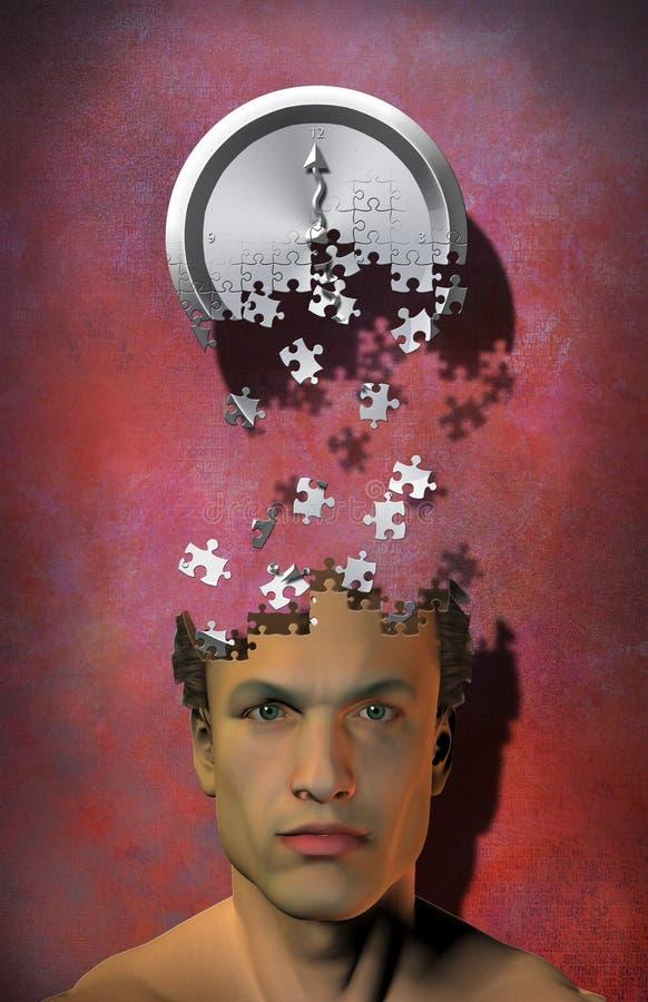 Puzzle di tempo di mente illustrazione vettoriale