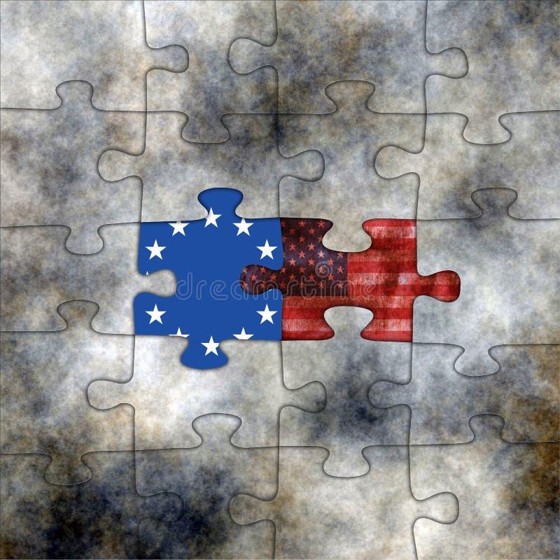 Puzzle di U.S.A. e di UE immagine stock libera da diritti