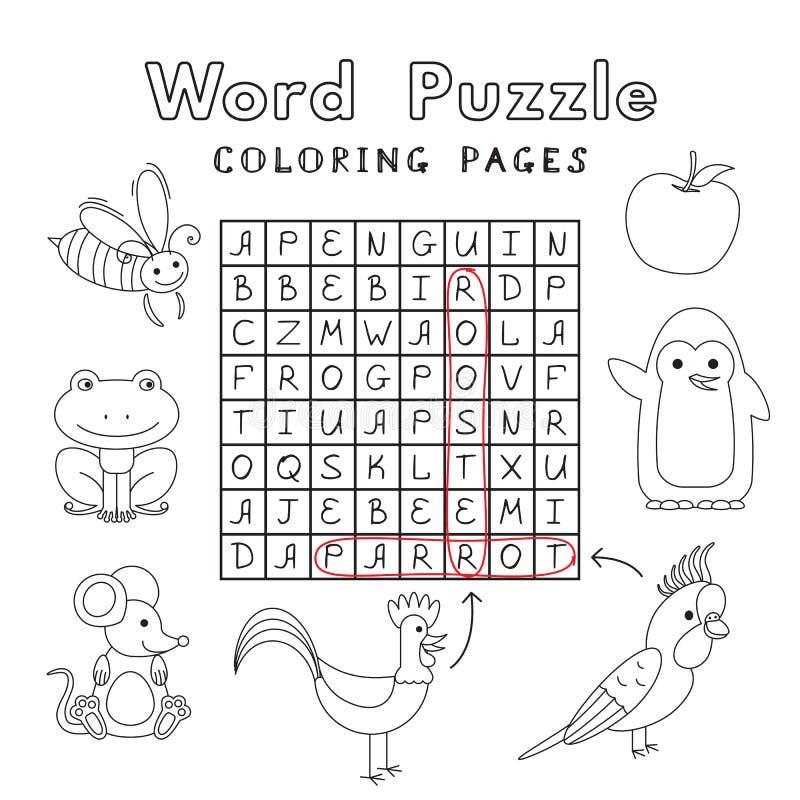 Puzzle divertente di parola del libro da colorare degli animali illustrazione di stock