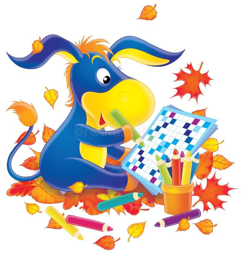 puzzle drôle à oreilles d'âne de mots croisé le long résolvent illustration de vecteur