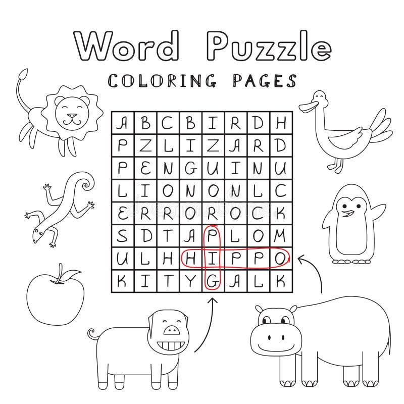 Puzzle drôle de Word de livre de coloriage d'animaux illustration stock