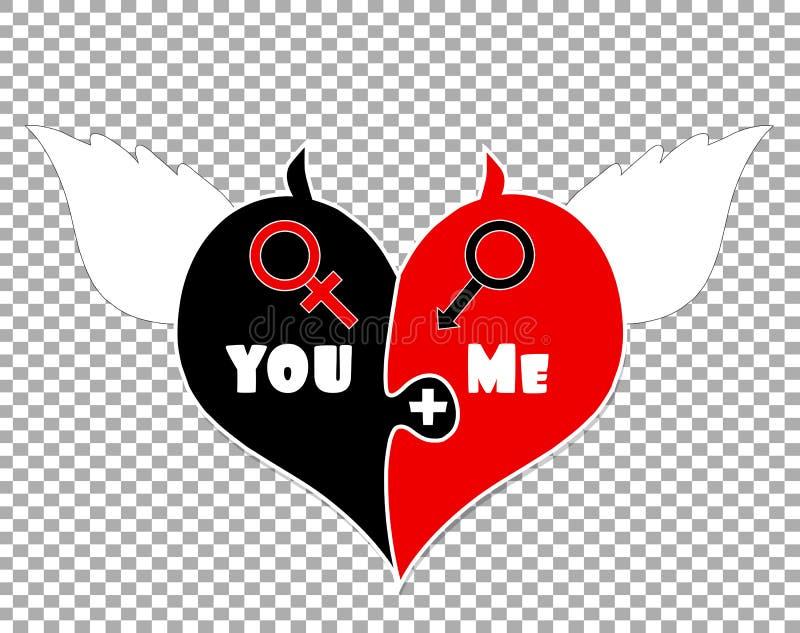 Puzzle due pezzi del cuore Angel Wings, corni del diavolo royalty illustrazione gratis