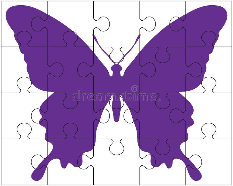 Puzzle e farfalla illustrazione di stock