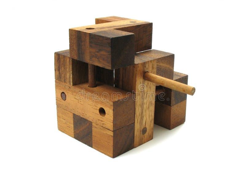 Puzzle en bois 4 de cube photographie stock libre de droits