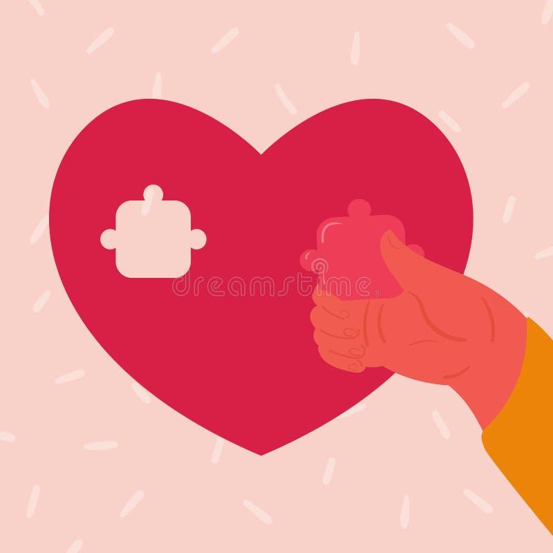 Puzzle en forme de coeur Les insertions de main de femme rapiècent illustration de vecteur