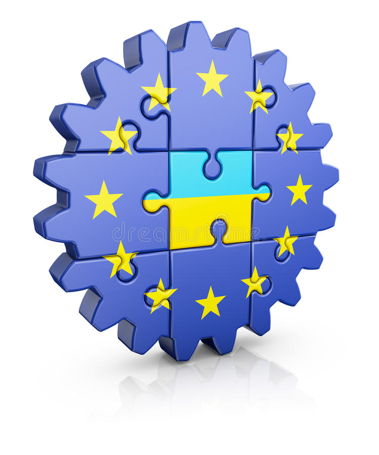 Puzzle EU and Ukrainian. Gear-puzzle with a flag of the European Union and the Ukrainian.3D render stock illustration