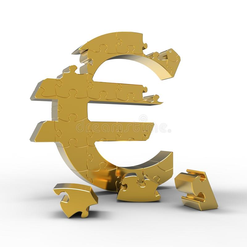 Puzzle Of A Euro Sign Stock Images