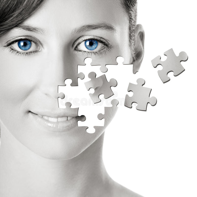 Download Puzzle Face stock photo. Image of cosmetics, caucasian - 12160220