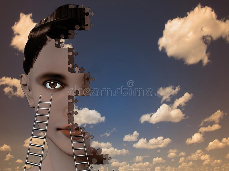 Puzzle Face stock illustration