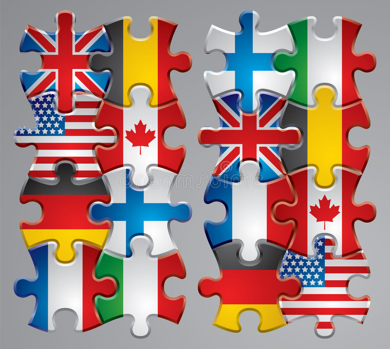 Puzzle flag icons vector illustration