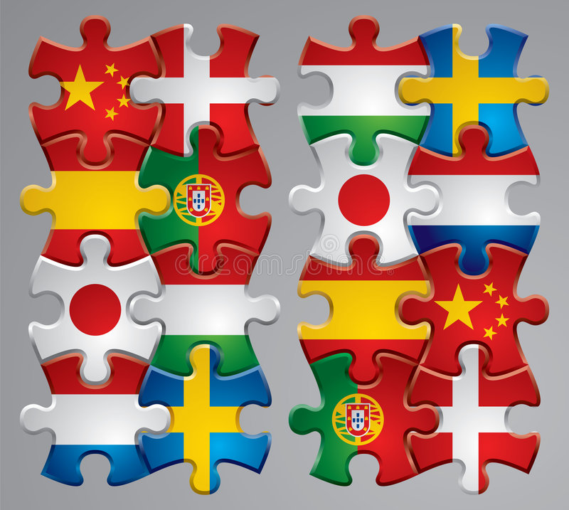 Puzzle flag icons stock illustration