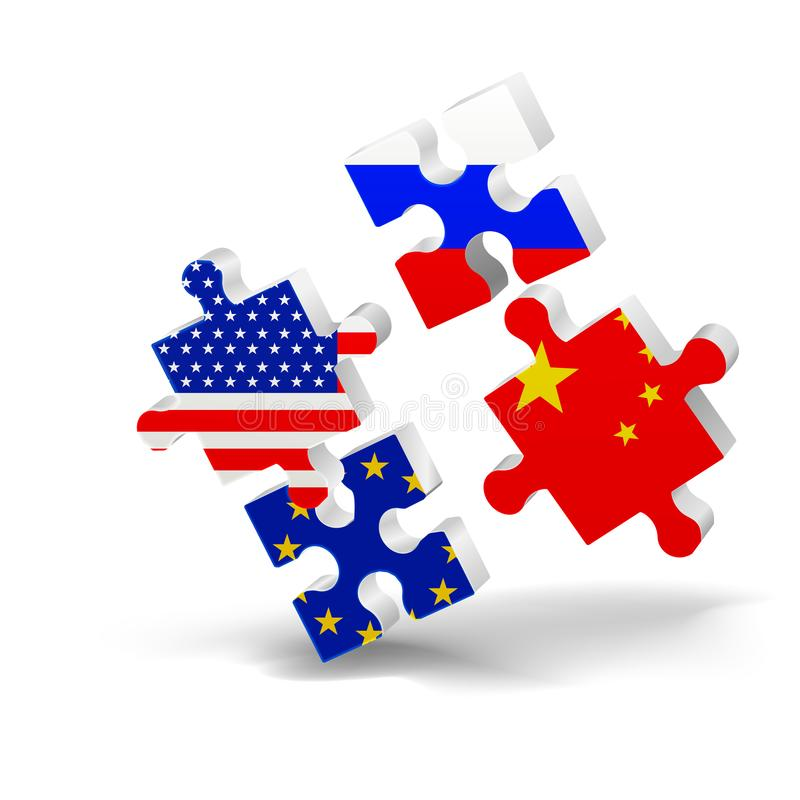 Puzzle, flag, USA, EU, China, Russia opposition 3D, vector illustration