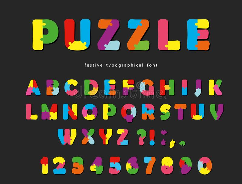 Puzzle font. ABC colorful creative letters and numbers on a black background. Vector illustration vector illustration