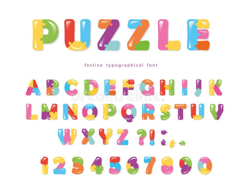 Puzzle font. ABC colorful creative letters and numbers. Vector illustration royalty free illustration