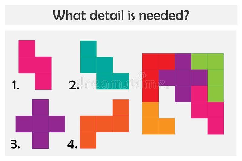 Puzzle game with colorful details for children, choose needed detail, easy level, education game for kids, preschool worksheet. Activity, task for development royalty free illustration