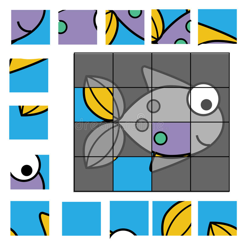 Puzzle game with fish. Kids activity sheet royalty free illustration