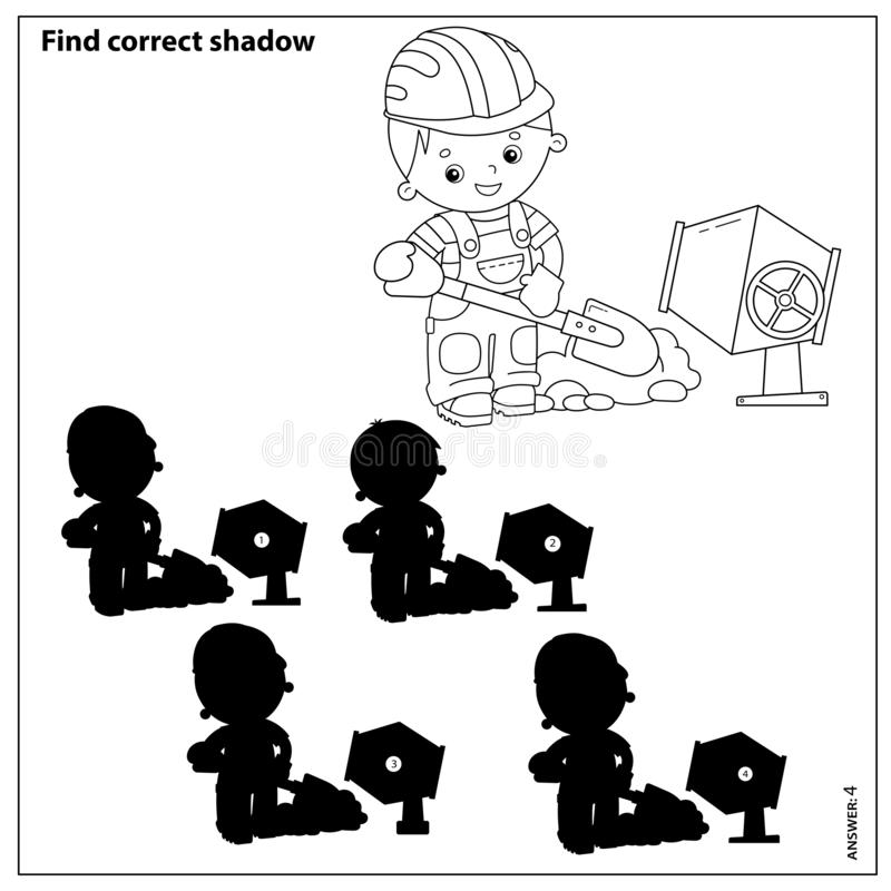 Free Puzzle Game For Kids. Find Correct Shadow. Builder With Shovel And Concrete Mixer. Profession. Coloring Book For Children Stock Images - 164010834