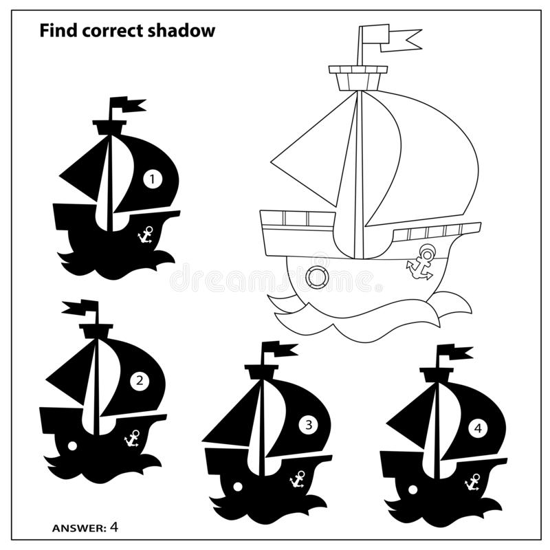 Free Puzzle Game For Kids. Find Correct Shadow. Coloring Page Outline Of Cartoon Sail Ship. Coloring Book For Children Royalty Free Stock Image - 164581506