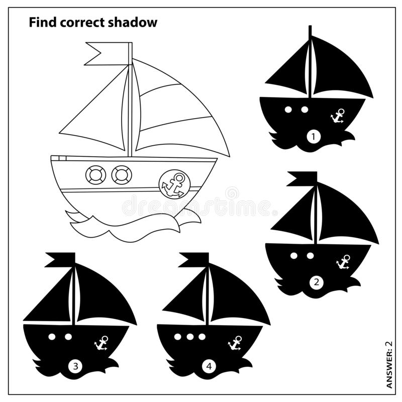 Free Puzzle Game For Kids. Find Correct Shadow. Coloring Page Outline Of Cartoon Sail Ship. Coloring Book For Children Stock Photo - 164581560
