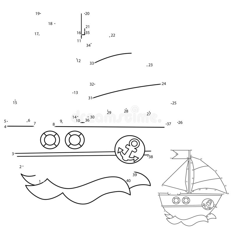 Free Puzzle Game For Kids: Numbers Game. Cartoon Sail Ship. Coloring Book For Children Royalty Free Stock Photography - 164454937