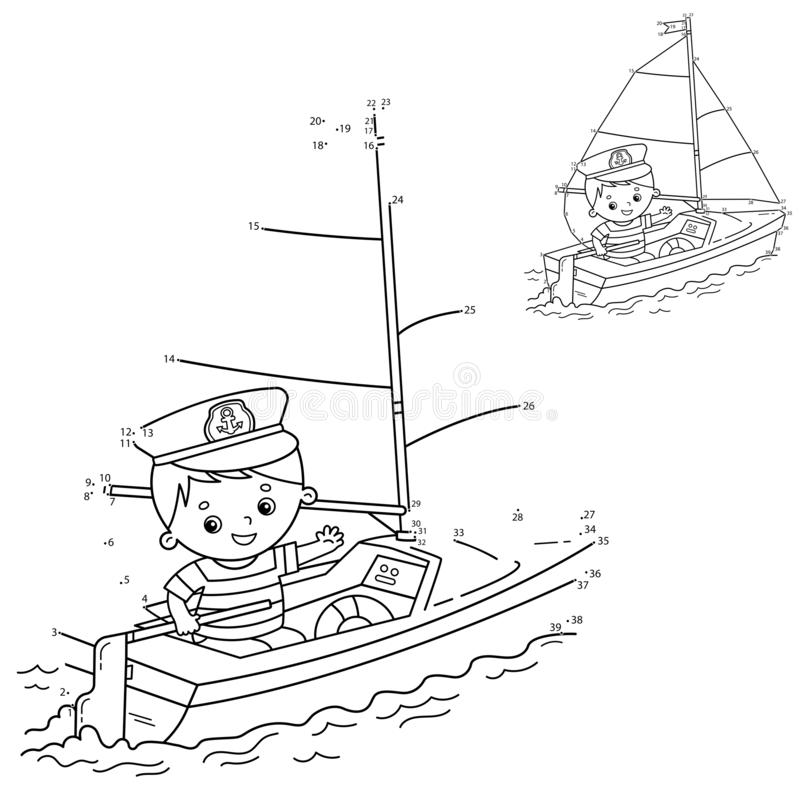 Free Puzzle Game For Kids: Numbers Game. Cartoon Sail Ship With Sailor On The Deck. Coloring Book For Children Stock Photo - 164454950