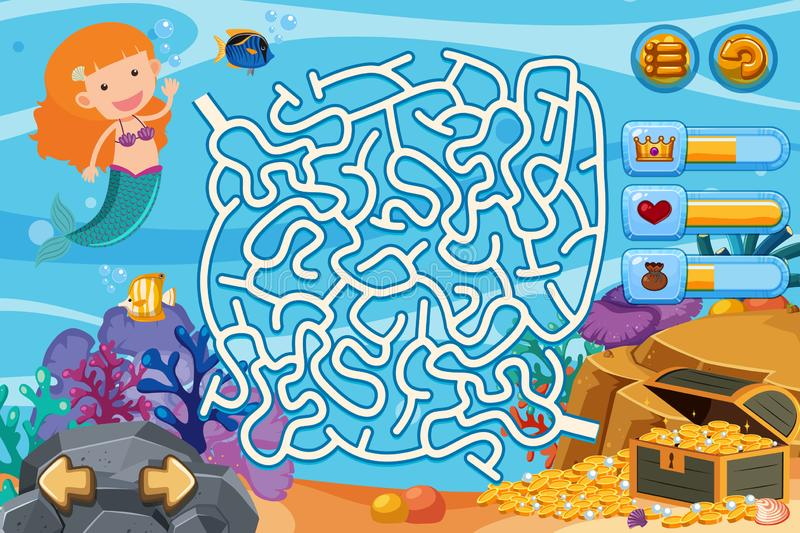 Puzzle game with mermaid and gold coins underwater. Illustration vector illustration