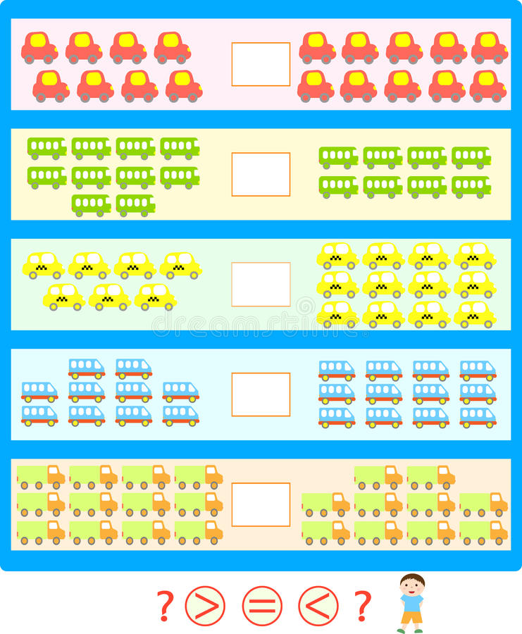 Puzzle game. More less equal vector illustration