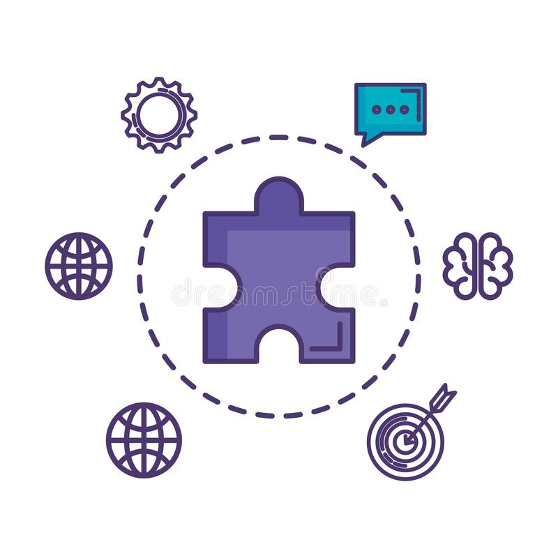 Puzzle game piece with set business icons. Vector illustration design stock illustration
