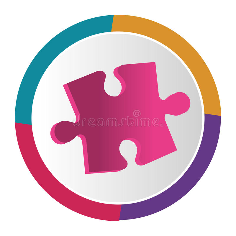 Puzzle game pieces isolated icon. Vector illustration design royalty free illustration