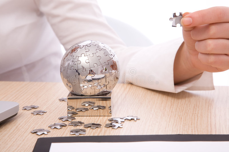 Puzzle globe royalty free stock photography