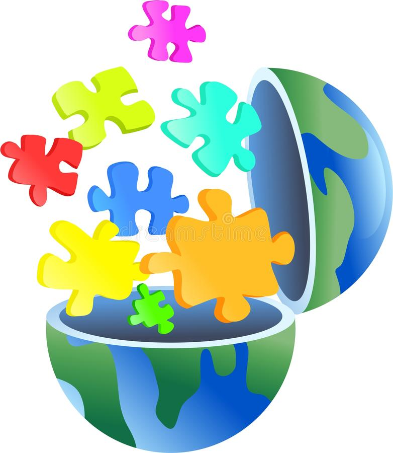 Puzzle globe stock illustration