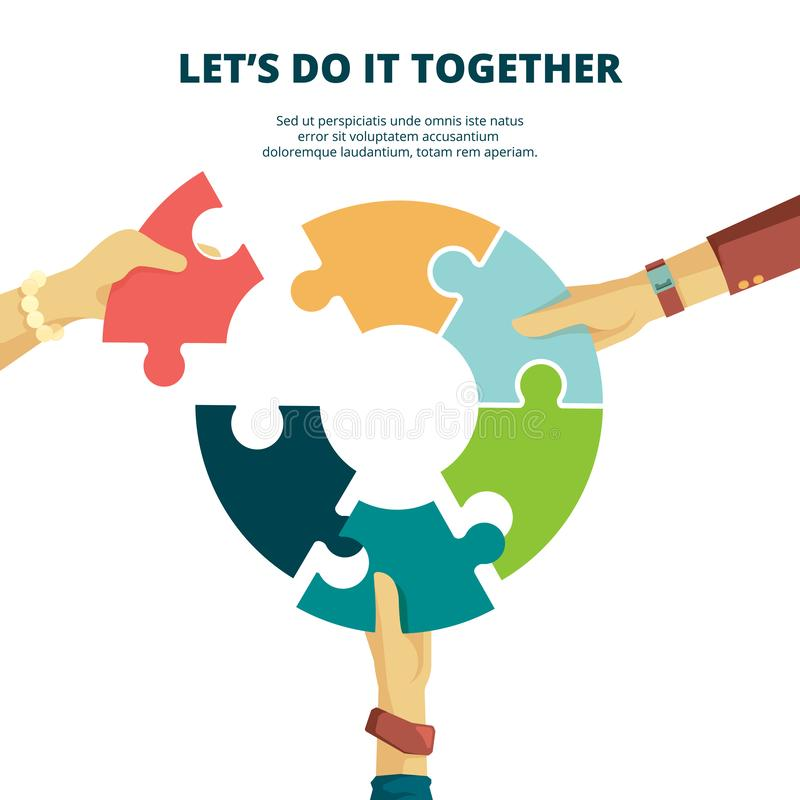Puzzle in hand. Business concept man put piece of jigsaw together finish work final project good partners vector puzzle. Background. Illustration jigsaw vector illustration