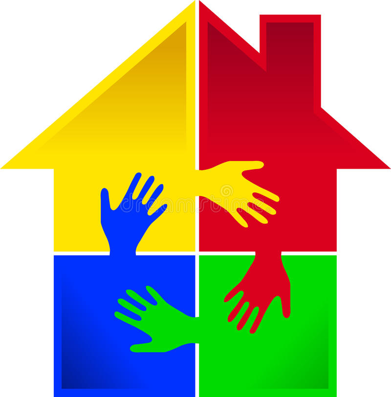 Puzzle hand home royalty free illustration