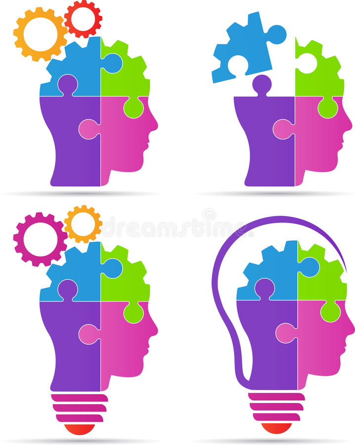 Puzzle head brain gear bulb stock illustration