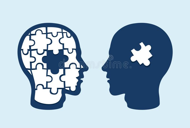 Two face profiles against each other with one missing jigsaw piece cut out stock illustration