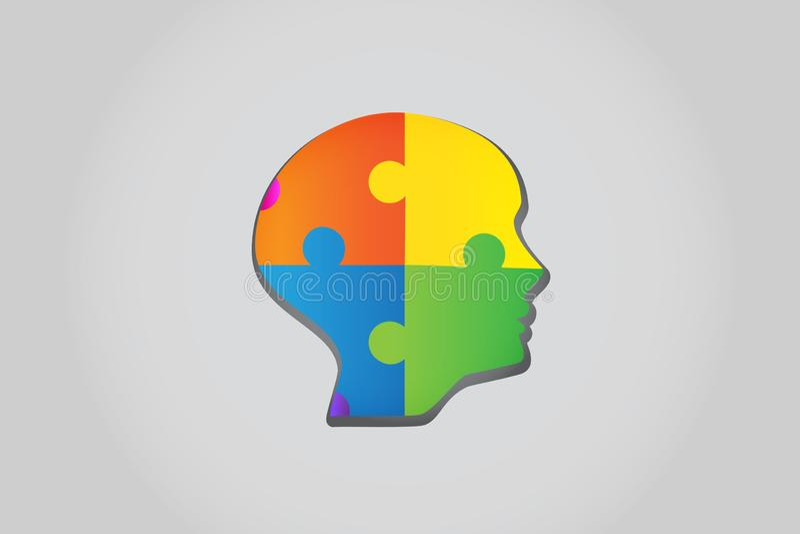 Puzzle head ideas concept logo vector stock illustration