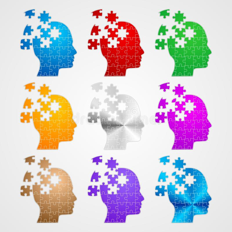 Puzzle heads vector illustration