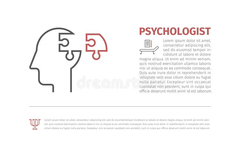 Puzzle heads silhouettes symbolizing Psychology, psychological problems.Vector available. royalty free illustration