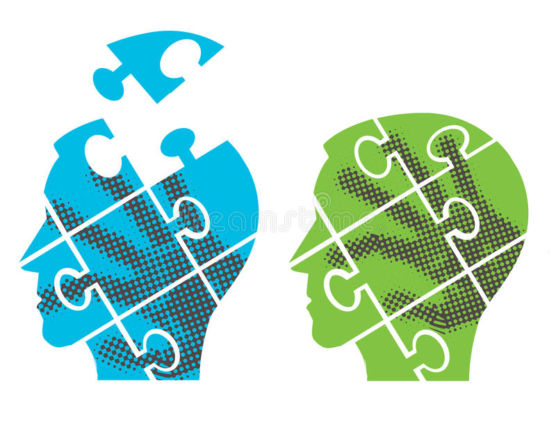 Puzzle heads silhouettes. stock illustration